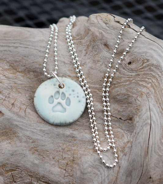 Paw Print Pendant. Necklace. Sterling Silver Chain. Porcelain. Cindy's Art and Soul.