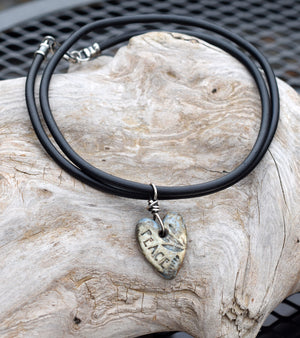 Peace Lotus Heart Pendant Necklace. Sterling Silver. Vegan Bunna Cord. 18281