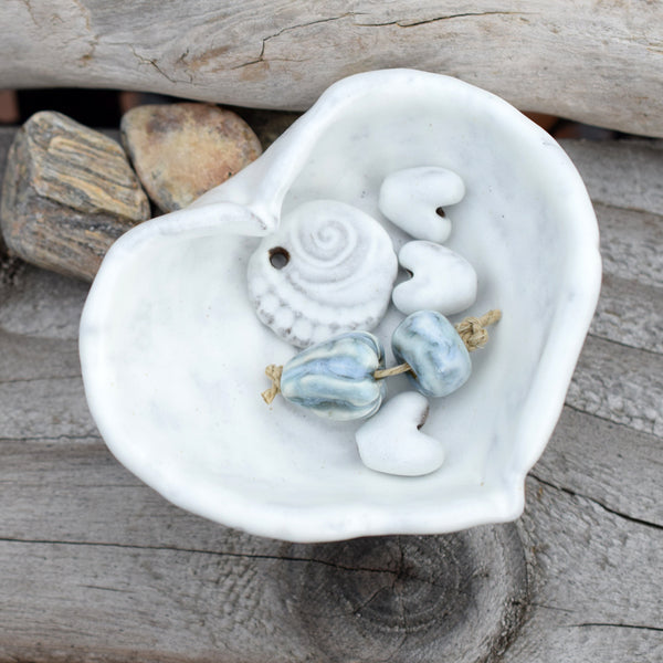 White Heart Dish. Ceramic Heart Bowl. Handcrafted Stoneware.