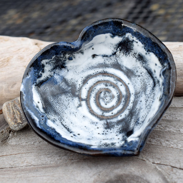 Blue Heart Pottery Dish. Rustic Blue Whie Bowl. Small. Handmade Stoneware.