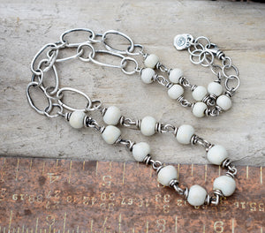 Alabaster and Brushed Silver Necklace. Boho Chic Rustic Beach Jewelry.