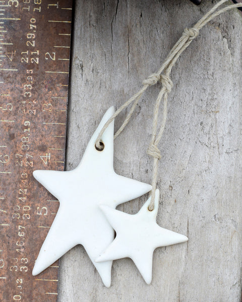 Rustic Star Ornaments. Set of Two. Farmhouse Decor. White Stars.