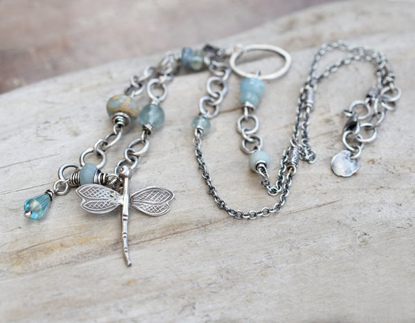 This all silver and blue gemstone necklace is perfect for Spring Boho Chic Fashion. Handcrafted in the US.