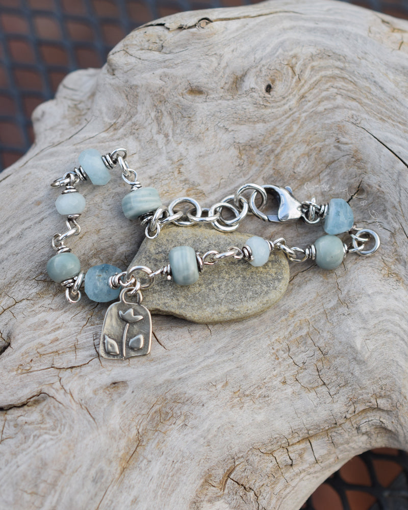 Aquamarine Gemstone Bracelet. Spring Flowers. Boho Bliss Jewelry. 925 Sterling Silver.