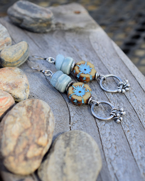 Earrings. Spring Flowers. Blue Aquamarine Gemstone Earrings. Sterling Silver Jewelry.