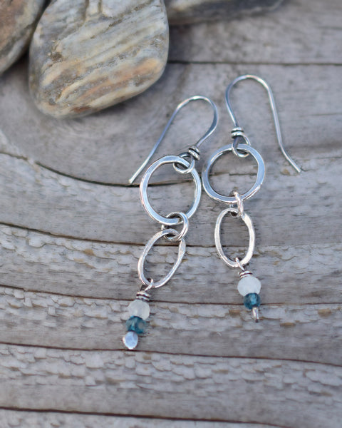 Moonstone and Blue Quartz Earrings. Small Drop Hoops with Gemstones.