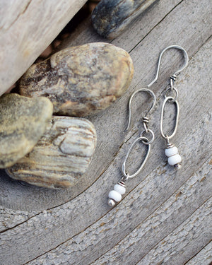 White African Glass and Silver Hoop Earrings. Small Hoops. All Silver Earrings.