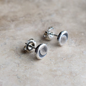 Silver Nugget Post Earrings. Crescent Moon posts. Handmade Jewelry. Cindy's Art & Soul Designer Jewelry.