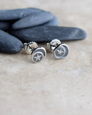 Crescent Moon and Star Earrings. Pure Silver Nugget Post Earrings. 61495