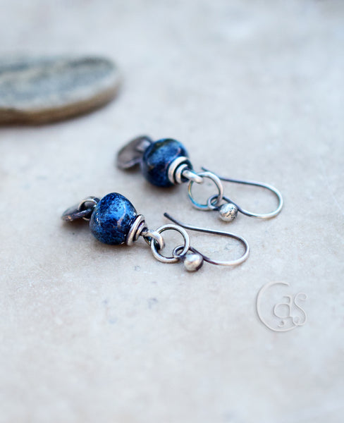 Bright blue ceramic beaded earrings with fine silver nugget charms. Handcrafted Earrings.