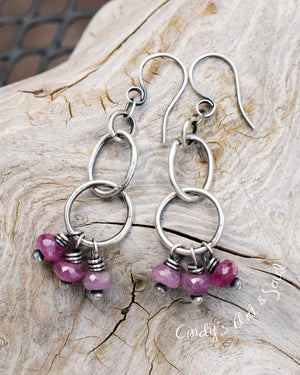 Ruby Hoops. Small Hoop Earrings. Pink Gemstone Jewelry. 5186
