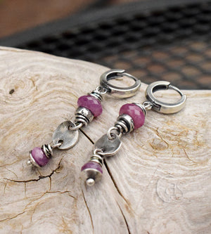 These handmade silver earrings have Pink Ruby gemstones and pure silver charms. Designer Jewelry.
