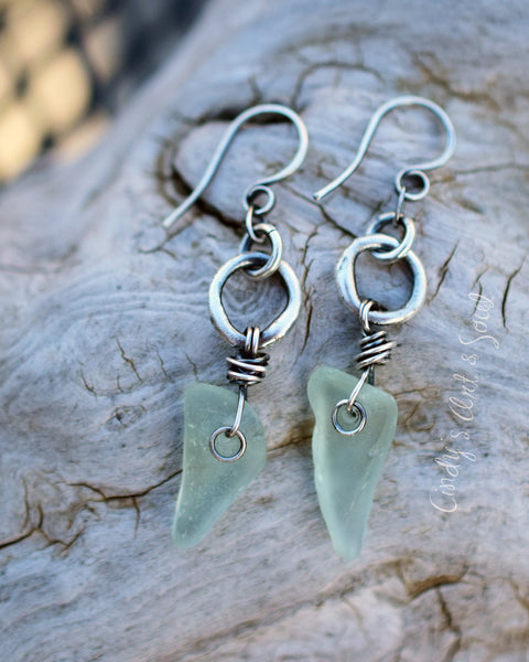 Aqua Sea Glass Earrings with Fine Silver Hoops. Beach Girl Jewelry. 5187