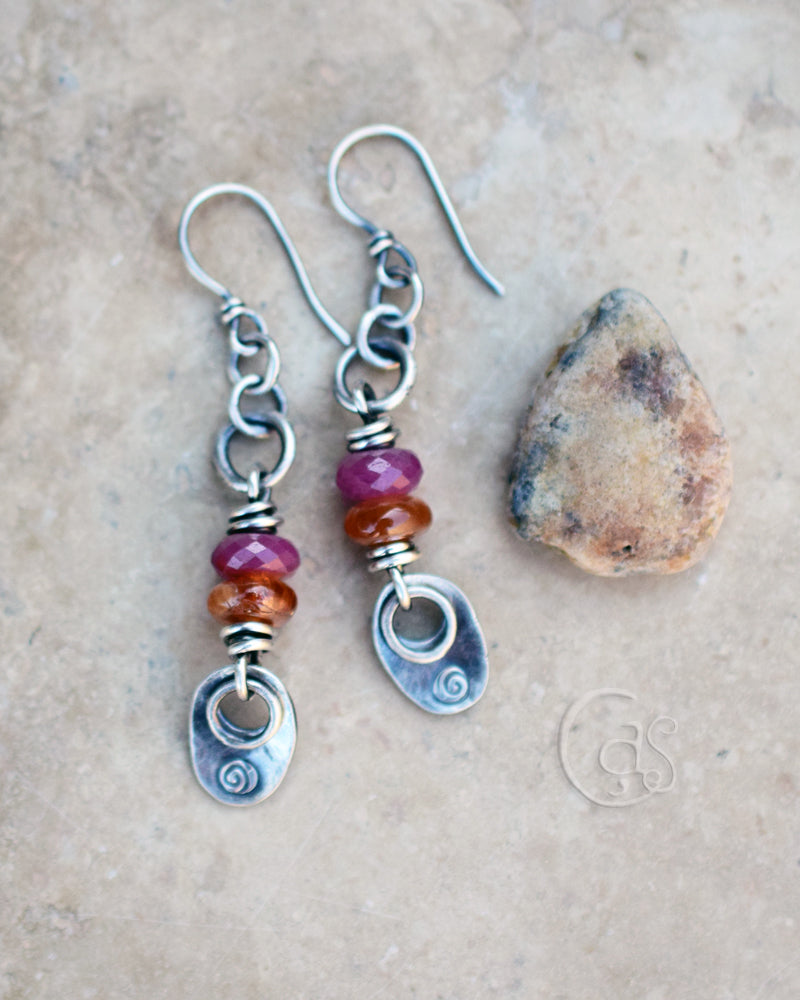 Ruby earrings with Sun Stone Gemstones. Handcrafted Fine Silver Designer Jewelry by Cindy's Art & Soul