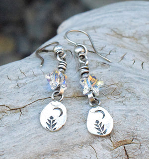 Starry Night Earrings. Sparkling Stars. Crescent Moon. Silver Earrings. 4185