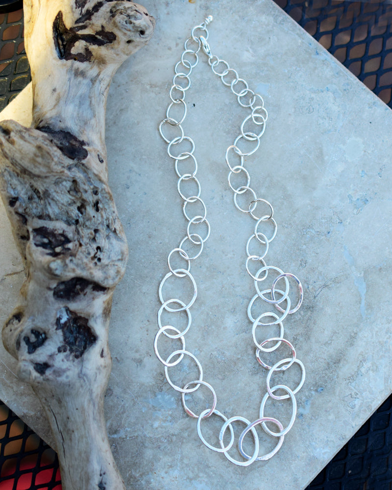 Fine Silver Chain Neckalce. Handcrafted Pure Silver Ring Necklace. 999 Fine Silver. 63181