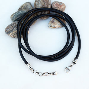 Vegan leather cord. Vegan Jewelry. Sterling Silver.