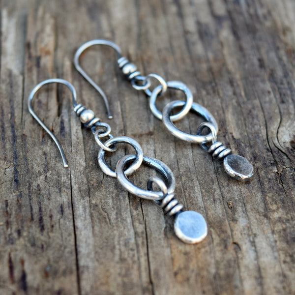Sweet Petite Dot Hoops. Pure Fine Silver Earrings. Cindy's Art & Soul Jewelry. 83193