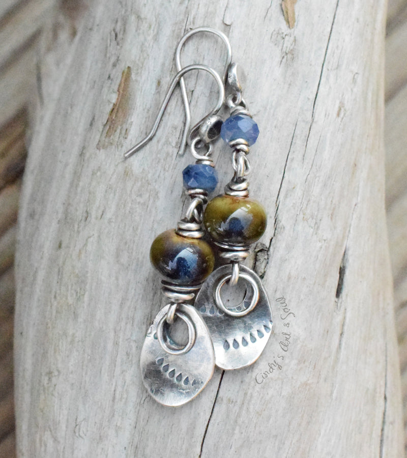 Handmade Silver Earrings. Forest Green River Blue Ceramic Earrings with Blue Gemstones.