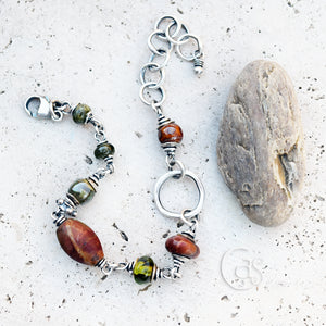 Rust Gemstone Bracelet. Silver Beaded Chain Bracelet. Shades of Autumn 10241