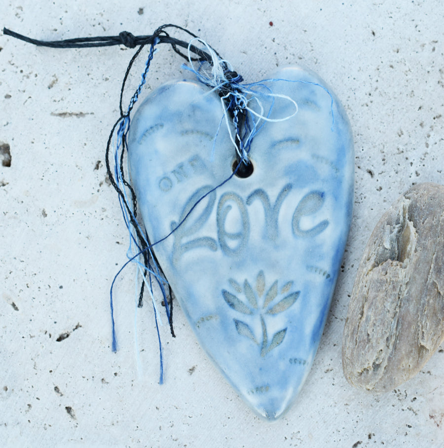 Peace and Love. Heart Ornaments. Handcrafted Porcelain Ceramic.