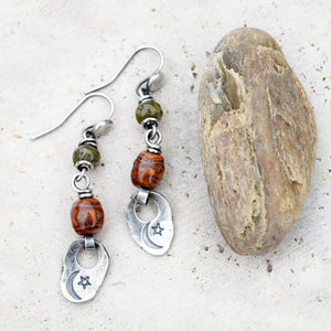 Rust and Olive Gemstone Earrings with Silver Nugget Charms. Shades of Autumn 10242