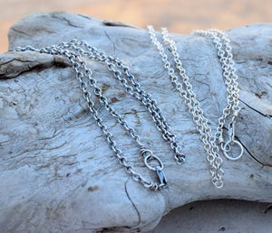 Sterling Silver Chain Necklace. Handcrafted 925 Sterling Silver. Lobster Clasp. Design Your Own. Add A Charm. Ready To Ship. Handmade Silver