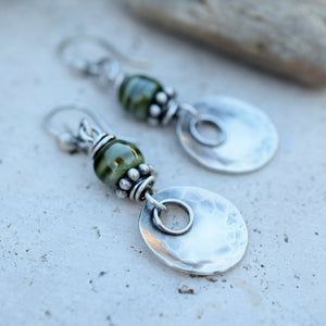 Emerald Porcelain Beaded Silver Boho Style Earrings. Art & Soul Designer Jewelry