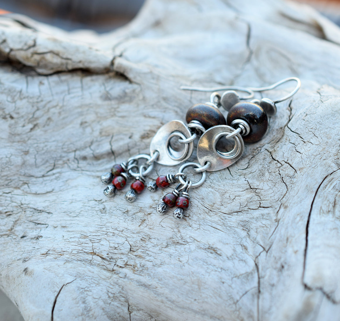 Bronze Glazed Porcelain Beaded Earrings Fine Silver Drops With Red Glass Dangles.