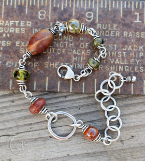 Handmade Designer Jewelry. Sterling Silver and Gemstone Bracelet.