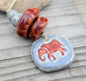 Peace Ornament | Elephant Bead Set | No 6 and 8 Handmade Porcelain Ceramic