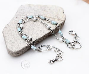 Beaded Gemstone Bracelet. Handmade Boho Style. Beach Baby. Sterling Silver Jewelry.