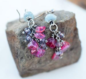 Boho Bliss Pink Flutter Earrings. Aquamarine Gemstone Jewelry.