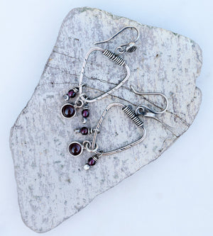 Ruby Garent Gemstone Earrings. Triangle Hoops. Boho Sytle. 62191