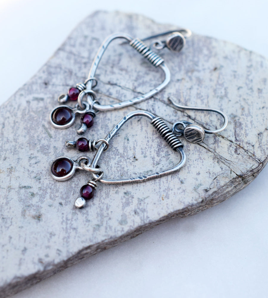 Garnet and Ruby Gemstone Earrings. Fine Silver Triangle Hoops.