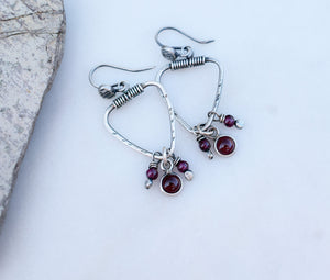 Triangle Earrings. Ruby Gemstone Hoops. July Birthstone Jewelry. Handmade Boho Sytle. 62191