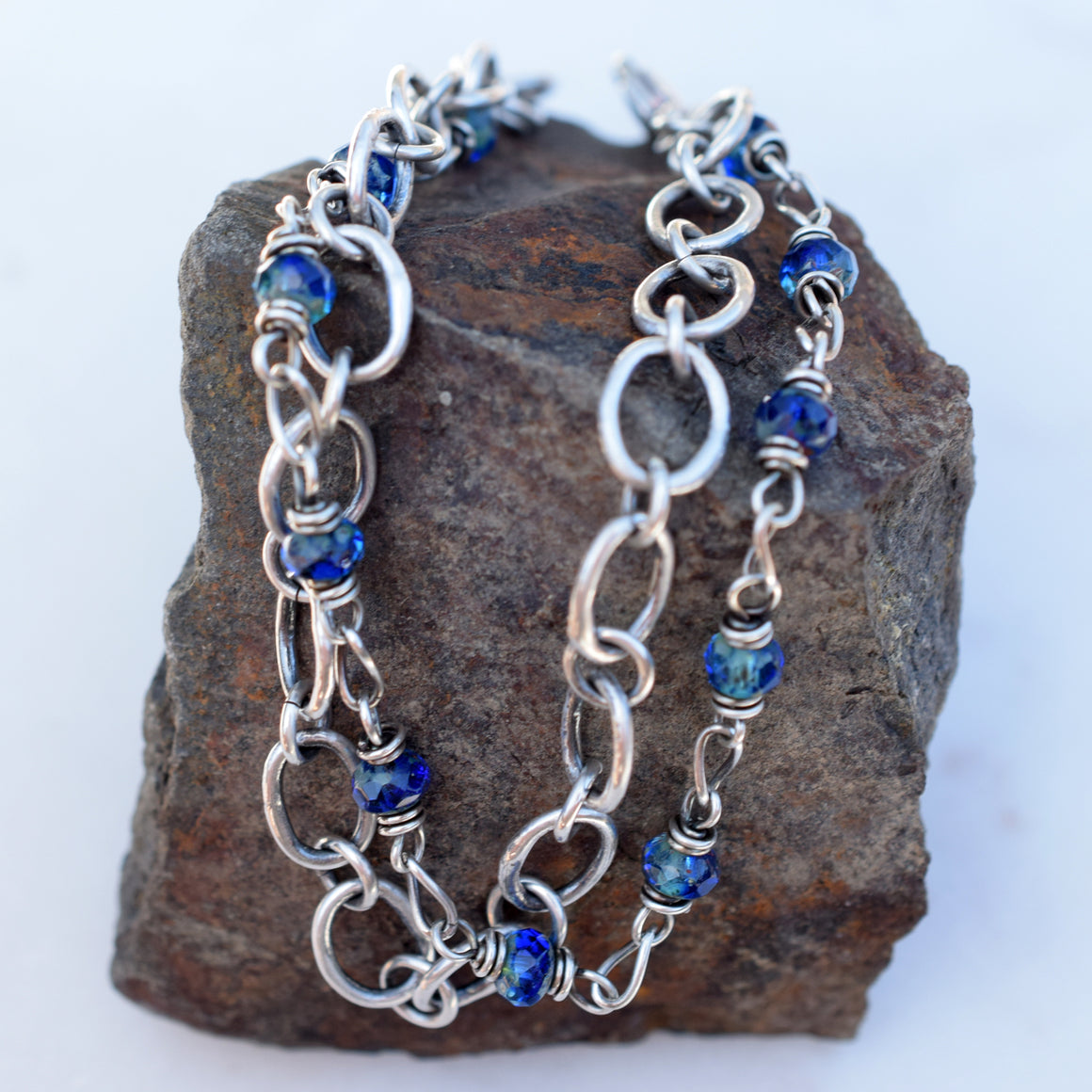 Sapphire Blue Beaded Chain Bracelet. Double Strand. Czech Glass. Fine Silver. Boho Style.