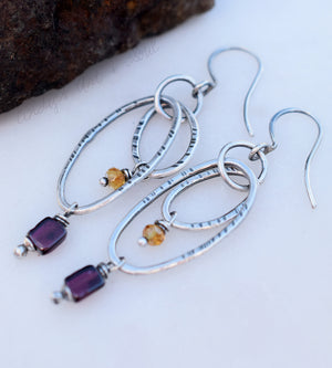 Double Silver Hoops w Pink Garnet Citrine Gemstones. Handmade Earrings. 64194