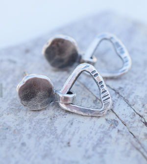 Triangle Post Stud Earrings. Tiny Hoops. Fine Silver Jewelry. 64192