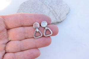 Sterling Silver Triangle Hoops. Post Stud Earrings. Boho Style Jewelry.