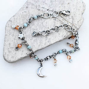 Crescent Moon and Stars Sterling Silver Bracelet.