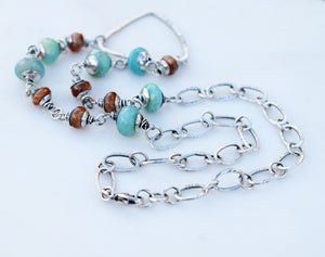 Teal + Orange Boho Style Triangle Necklace. Handmade Sterling Silver Jewelry.
