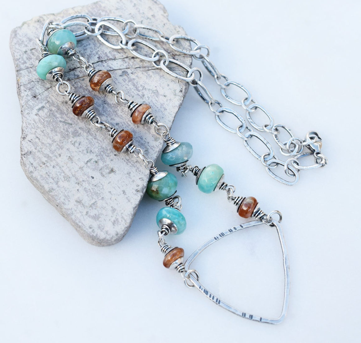 Handmade Sterling Silver Jewelry. Teal + Orange Boho Style Triangle Necklace.