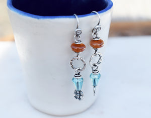 Sun Spot. Orange + Teal Earrings. Handmade Silver + Gemstone Jewelry. 64195