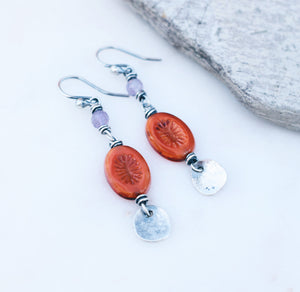 Orange + Lavender Amethyst Boho Style Earrings. Handmade Jewelry.