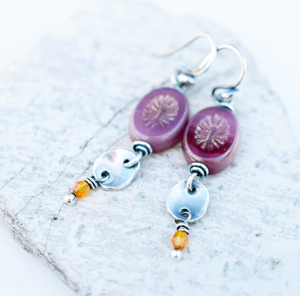 Summer Berries. Boho-Style Beaded Amethyst Earrings. 61394