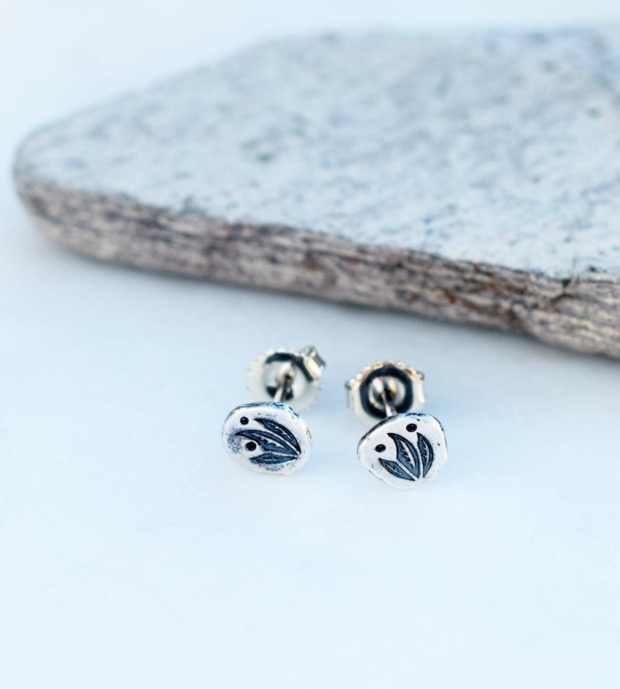 solid silver post stud earrings. handmade jewelry.