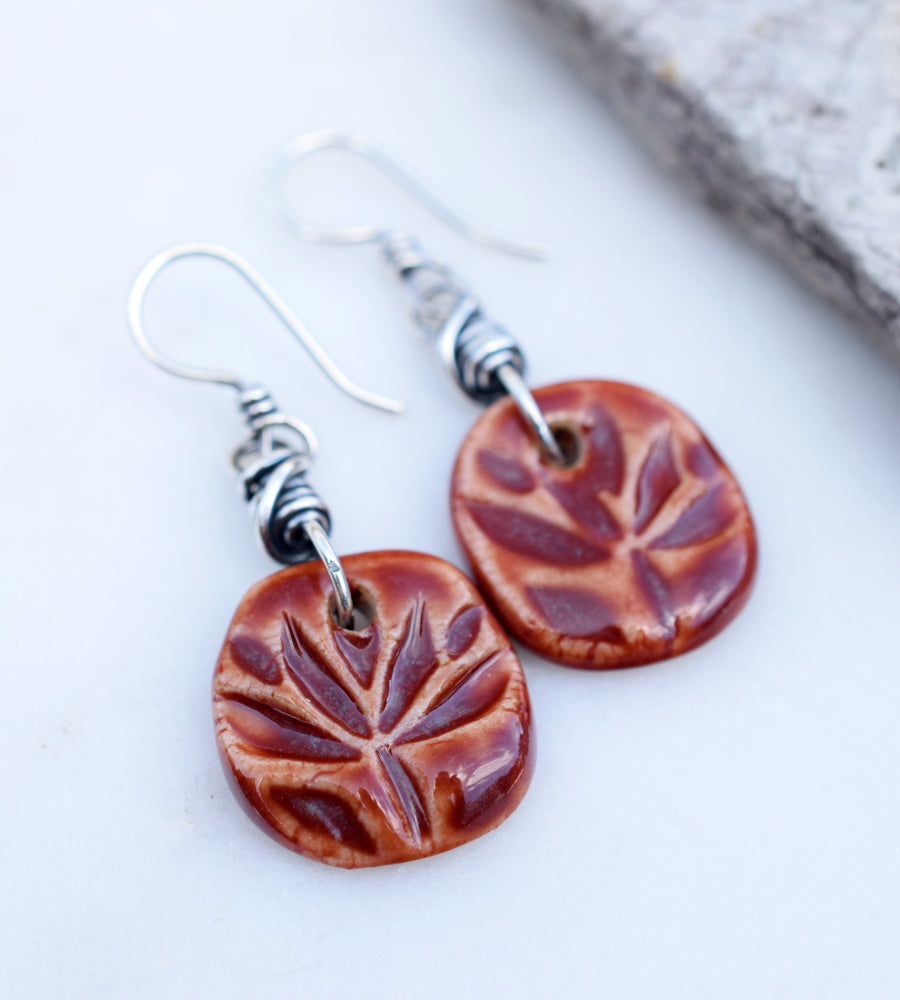 Red Lotus Flower Beads. Handmade Ceramic Jewelry.