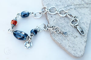 Star Spangled Bracelet. Fine Silver. Lampwork. Handmade Ceramic Beaded Jewelry. 61891