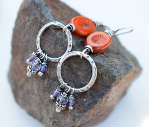 Sunshine and Flowers Handcrafted Silver Boho Style Hoops. Orange + Amethyst. 62391
